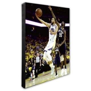 NBA Stephen Curry 2017 18 Playoff Action Stretched Canvas Officially Licensed