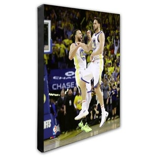 NBA Stephen Curry Klay Thompson 2018 19 Playoffs Stretched Canvas Officially Licensed