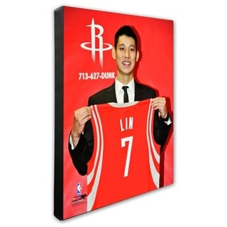 NBA Jeremy Lin 2012 Press Conference Stretched Canvas Officially Licensed