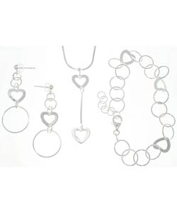 Carolina Glamour Collection Sterling Silver Geometric Heart 3-piece Jewelry Set