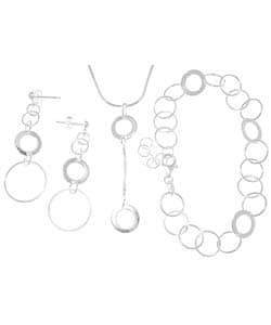 Carolina Glamour Collection Sterling Silver Geometric Circles 3-piece Jewelry Set