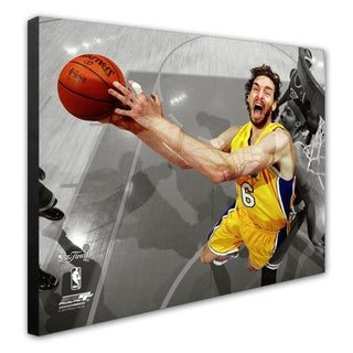 NBA Pau Gasol Game Seven Of The 2010 NBA Finals Spotlight Action 37 Stretched Canvas Officially Licensed