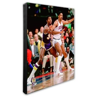 NBA Magic Johnson Julius Erving 1983 Action Stretched Canvas Officially Licensed