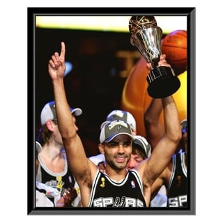 NBA Tony Parker With The MVP Trophy Game 4 Of The 2007 NBA Finals Framed Photo Officially Licensed