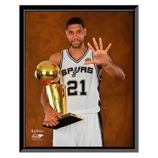 NBA Tim Duncan With The NBA Championship Trophy Game 5 Of The 2014 NBA Finals Framed Photo Officially Licensed