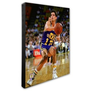 NBA John Stockton 1989 Action Stretched Canvas Officially Licensed