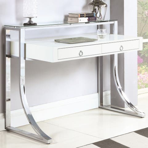 Modern Design Glossy White Home Office Computer Writing Desk with Glass Shelf