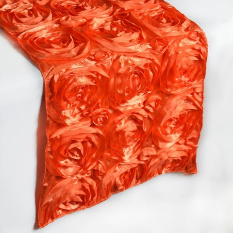"Satin 3D Floral Wedding Table Runners Orange 14"" x 108"""