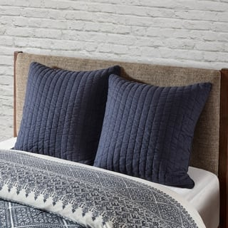 The Curated Nomad Camella Navy Cotton Quilted Euro Sham
