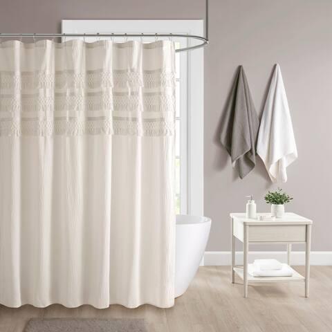 Madison Park Joelie Cotton Seersucker with Tassel Shower Curtain