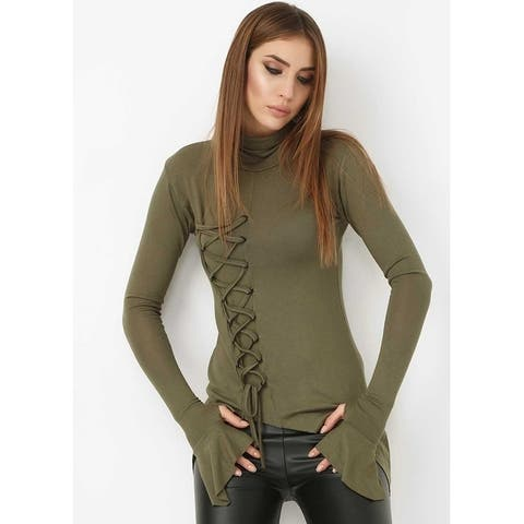 Bambina Mia Collection - Khaki Lace-Up Sidetail Top