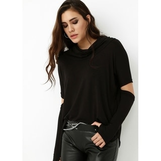 Link to Bambina Mia Collection - Black Elbow-Cutout Cowl Neck Top Similar Items in Tops