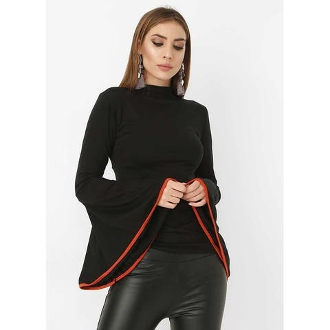 Bambina Mia Collection - Black & Red Bell-Sleeve Mock Neck Top