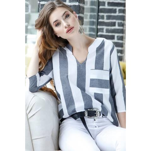 Bambina Mia Collection - Gray & White Stripe Notch Neck Top