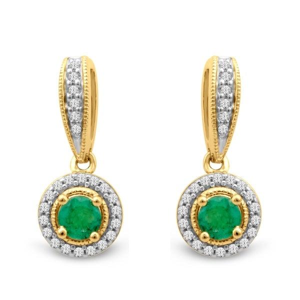 1/6ct TDW Diamond Gemstone Dangles in 10k Yellow Gold