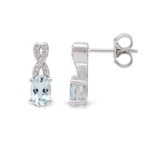 Oval Cut Gemstone 1/10ct TDW Diamond Swirl Earrings in 10k White Gold