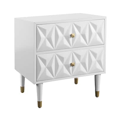 Modern Style Wooden Nightstand with Two Storage Drawers,White and Gold
