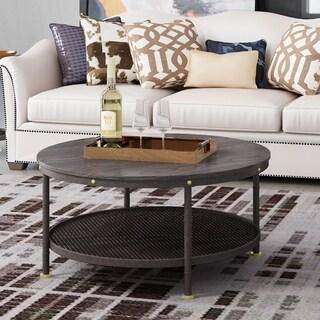 "Deford Walnut Elegant Round Ø35.75""x17.75""H Wood/Metal Coffee Table"