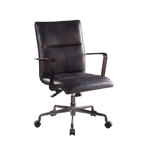 ACME Indra Executive Office Chair with Lift in Onyx Black Top Grain Leather