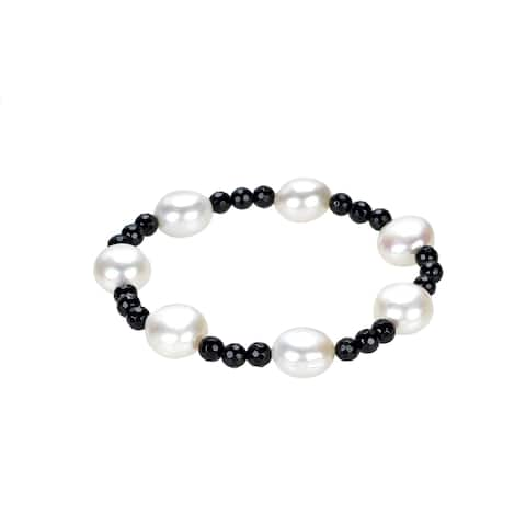 10-12mm White Freshwater Cultured Pearl and Black Onyx stretchable Bracelet
