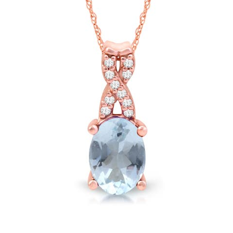 1/20ct TDW Diamond Gemstone Necklace in 10k Rose Gold