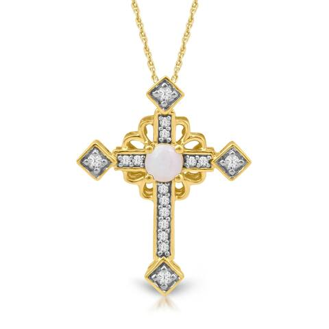 1/20ct TDW Diamond Gemstone Cross Necklace in 10k Yellow Gold
