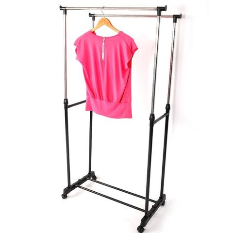Portable Double Rail Clothes Garment Rack Steel Rolling Closet