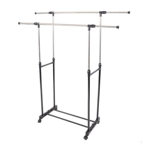 Double Rail Adjustable Rolling Clothes Garment Rack