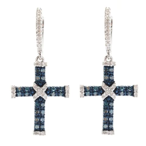 Sterling Silver with Genuine Blue and White Diamond Cross Earring