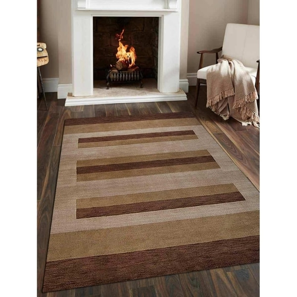 Indian Hand Knotted Gabbeh Modern Striped Carpet Oriental Area Rug