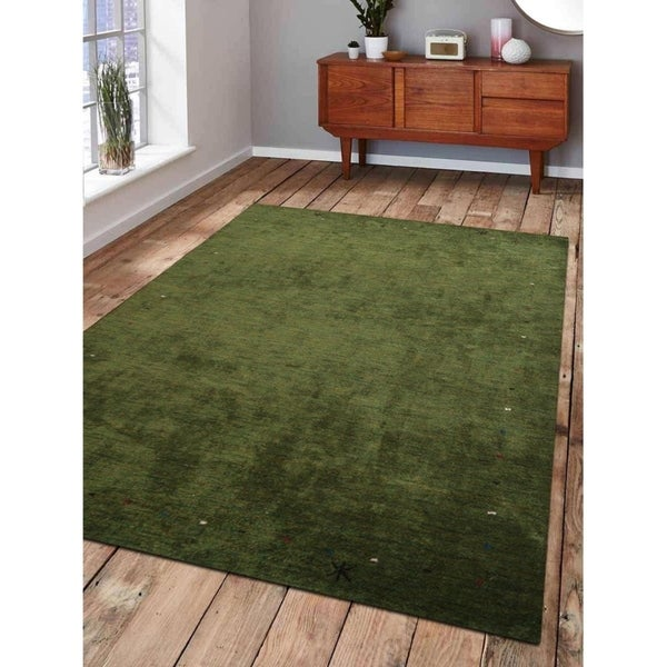 Indian Hand Knotted Solid Modern Green Area Rug Gabbeh Carpet Oriental