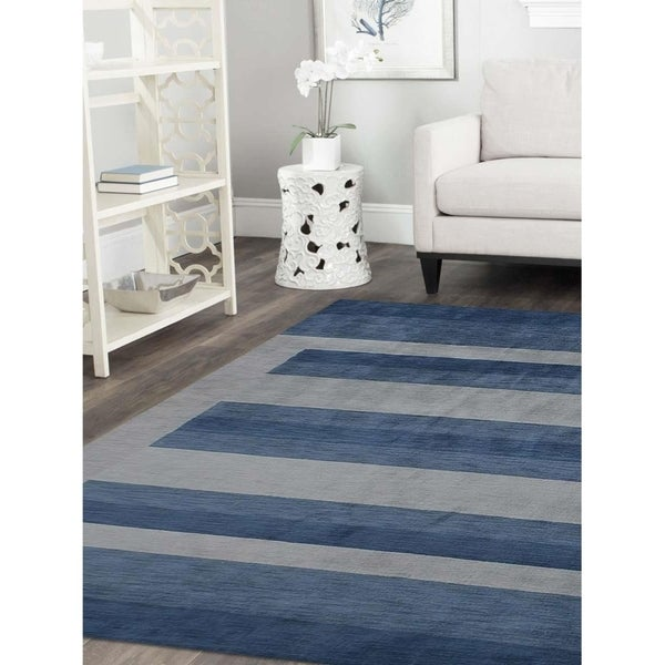 Modern Striped Gabbeh Indian Carpet Oriental Hand Knotted Area Rug