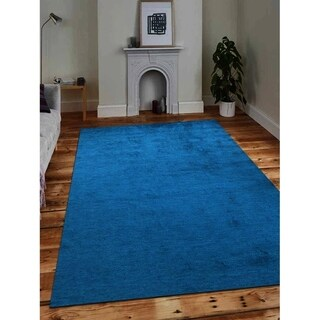 Modern Hand Knotted Gabbeh Carpet Indian Oriental Solid Blue Area Rug