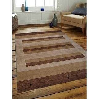 Modern Striped Hand Made Gabbeh Carpet Indian Oriental Area Rug