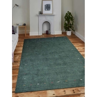 Contemporary Handmade Gabbeh Silk Solid Green Indian Oriental Area Rug