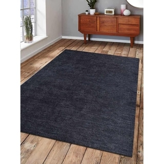 Modern Indian Gabbeh Carpet Solid Charcoal Hand Made Oriental Area Rug