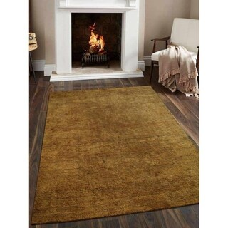 Modern Hand Knotted Gabbeh Area Rug Solid Gold Indian Oriental Carpet
