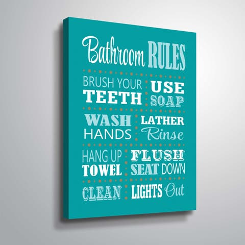"""""""Bathroom Rules"""" Gallery Wrapped Canvas"""