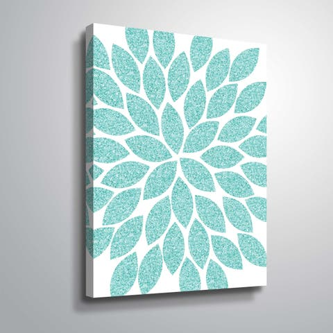 """""""Flower Glitter Turquoise"""" Gallery Wrapped Canvas"""