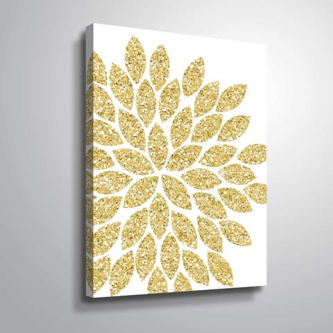 """""""Flower Gold Glitter"""" Gallery Wrapped Canvas"""