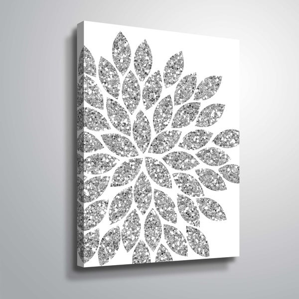 """""""Flower Glitter Silver"""" Gallery Wrapped Canvas"""