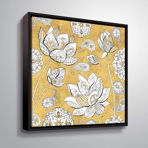 """""""Color my World Lotus I"""" Gallery Wrapped Floater-framed Canvas"""