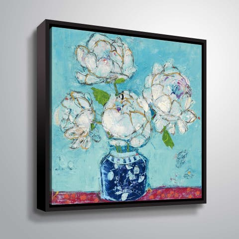 """Vase of Peonies"" Gallery Wrapped Floater-framed Canvas"