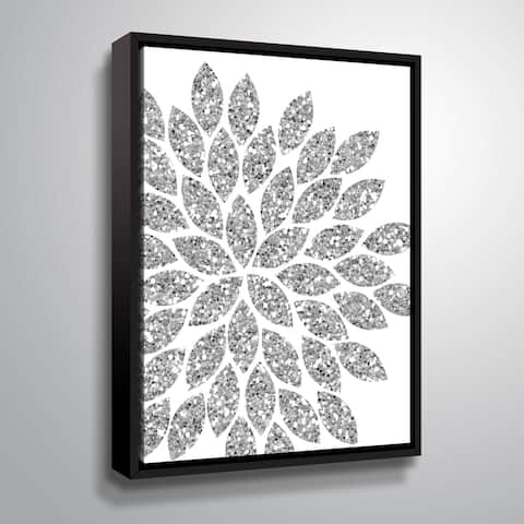 """""""Flower Glitter Silver"""" Gallery Wrapped Floater-framed Canvas"""