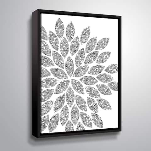 """Flower Glitter Silver"" Gallery Wrapped Floater-framed Canvas"