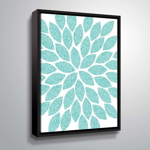 """""""Flower Glitter Turquoise"""" Gallery Wrapped Floater-framed Canvas"""