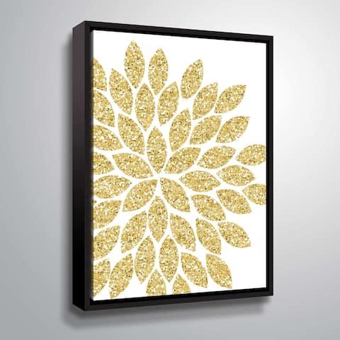 """Flower Gold Glitter"" Gallery Wrapped Floater-framed Canvas"