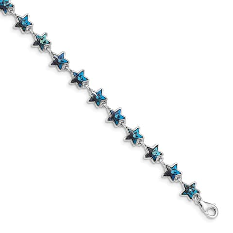 Sterling Silver Rhodium-plated Blue Crystal Stars with 1-Inch Extension Bracelet by Versil
