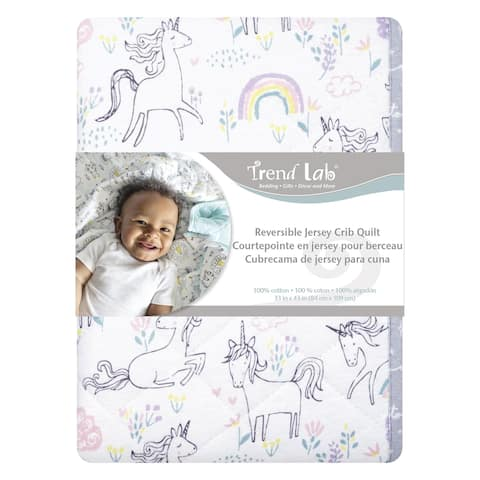 Playful Unicorns Reversible Jersey Crib Quilt