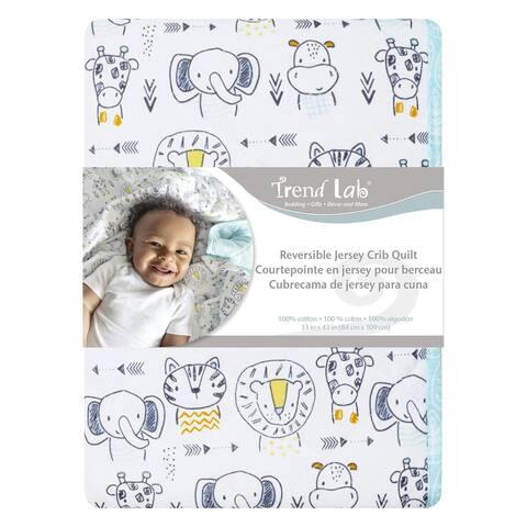 Safari Yearbook Reversible Jersey Crib Quilt